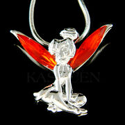 Hot Red Tinkerbell Made With Crystal Tinker Angel Necklace Jewelry