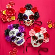 Day Of The Dead Skull Paper Mache Halloween Mask Flowers And Ribbon Wear Or Hang