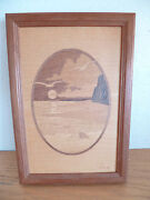Hudson River Inlay Wooden Marquetry Picture 'seashore' By Jeff Nelson