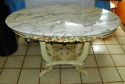 Mahogany Carved Marble Top Oval Center Table / Parlor Table By Victorian T20