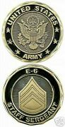 Us Army Staff Sergeant E-6 Black Gold Challenge Coin