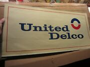 Vintage United Delco Water Transfer Window Sign Decal 34 X 16