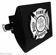 Fire Maltese Cross Chrome And Black Decal Usa Made Plastic Trailer Hitch Cover