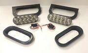 Two 6 Oval White Led Back Up Tail Reverse Light Trailer Rv W/ Mounting Bracket