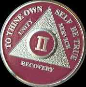 Pink And Silver Plated 2 Year Aa Chip Alcoholics Anonymous Medallion Coin Ii Two