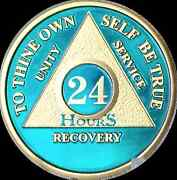 24 Hours Aa Medallion Blue Gold Plated Alcoholics Anonymous Chip