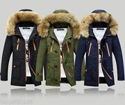 Winter Menand039s Long Padded Jacket Hooded Cotton Trench Coat Fur Outwear Jackets