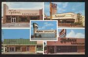 Postcard Miami Florida/fl Tylers Restaurant 5 Locations Multi-view 1950and039s