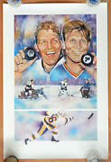 Bobby Hull And Brett Hull Signed Autograph Auto On Print Poster 50 Goals Sz 24x36