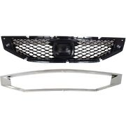 Grille For 2008-2010 Honda Accord Coupe Set Of 2 Textured Black Plastic