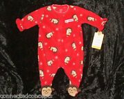 Carters My First Christmas Infant Girls Sleeper Bodysuit In Red Size Newborn