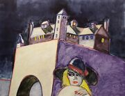 Earl Linderman At The Castle Of The Wolf Hand Signed Original Artwork '80s Obo