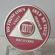 Pink And Silver Plated 27 Year Aa Chip Alcoholics Anonymous Medallion Coin Xxvii