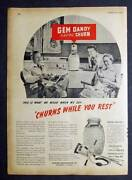 Churns While You Rest Original 1947 Gem Dandy Electric Churn Full Page Ad 8x11