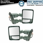 Tow Mirror Power Folding Telescoping Heated Smoked Signal Pair For Ford Pickup