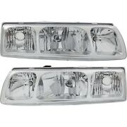 Headlight Set For 2005 Saturn Vue Left And Right Chrome Housing With Bulb 2pc