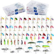 Dr.fish 60pcs Fishing Spinners Trout Spoon Metal Lures Baits Bass Tackle Box
