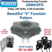 Kasco Marine 3400hvfx300 Floating Aerating Fountain 3/4hp 240 Volts 300and039 Cord