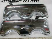 1958-1965 Chevrolet New Repro 348 409 W Chrome Valve Cover Repro Bowtie/drippers