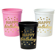 500pk Metallic Gold Happy Birthday Party Cups Birthday Party Decorations