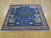4and0394x4and0394 Antique Pictorial Farsian Hand Knotted Square Rug R28233
