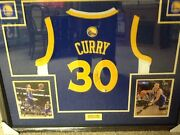 Stephen Steph Curry Signed Framed Autographed Auto Golden State Blue Jersey