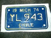 Un-issued Unused New 1974 Michigan Motorcycle License Plate Yl 943 Vintage