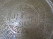 Vintage Egyptian Etched Copper Table Tray Pharaohs Scene Hieroglyphics 27