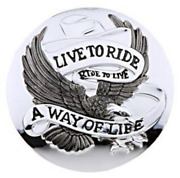 Live To Ride Chrome Gas Cap Cover - Motorcycle/trike/harley
