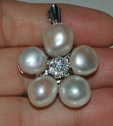 Estate Diamond Large Pearl Flower 18kt White Gold Pendant