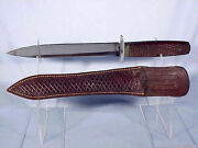 W.w. Ii Theater Made Stiletto Or Commando Type Knife And Scabbard