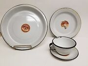 Massillon Oh-ohio Valley Enamel Ware 4 Piece Place Setting-1920's- New W/tags