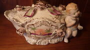 Lg Vintage Royal Sealy Porcelain Figurine - Covered Candy Dish W Roses And Cherub