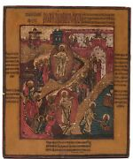 Old Antique Russian Icon Of Resurrection 19th C