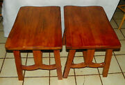 Pair Elm And Oak Mid Century Ranch Style End Tables / Side Tables Rpwc-t558