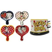 Betty Boop Ceramic Heart Shaped Tea Bag Holders With Caddy By Westland Giftware