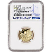 2016-w Us Gold 5 National Park Service Commem Proof - Ngc Pf69 Early Releases