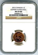 2012 Canada Cent Ngc Ms69 Rd Magnetic Steel High Grade Last Year Of Issue Rare