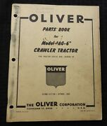 Genuine 1950 Oliver Ag-6 Crawler Tractor Parts Catalog Manual Nice