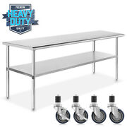 Stainless Steel Commercial Kitchen Work Food Prep Table W/ 4 Casters 30 X 60