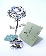 Mother Of The Bride Gift -8cms 3 Silver Style Pink Crystal Rose In Gift Box