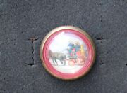 34-76 -vintage 1 3/4 Glass Bridle Rosette Horse Drawn Fire Engine And Firefightr