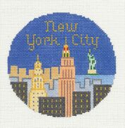 New York City Nyc Handpainted 4.25 Needlepoint Canvas Ornament Silver Needle