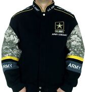 Menand039s Army Strong Jacket Us Army Black Camo Embroidered Logos Jacket