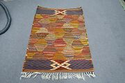 Vintage Very Fine Hand Woven Wool European Kilim Rug Abstract Tapestry 30 X 40