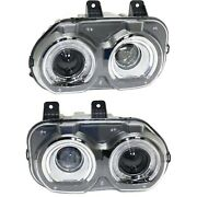 Headlight Set For 2015-2018 Dodge Challenger Left And Right With Bulb 2pc