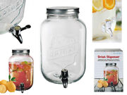 3.5l Glass Drink Dispenser Jar Cocktail Beverage Water With Tap Punch Juice Home