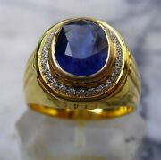 Menand039s 18k Solid Gold Natural Blue Sapphire Diamonds Ring