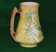 Antique Bamboo And Basket Weave Majolica Pitcher