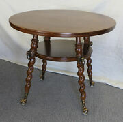 Fancy Round Oak Antique Lamp Table With Claw Ball Feet